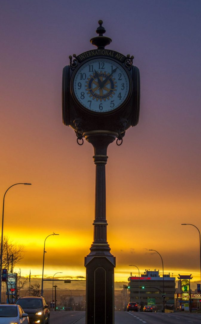 International Avenue Clock at Sunset