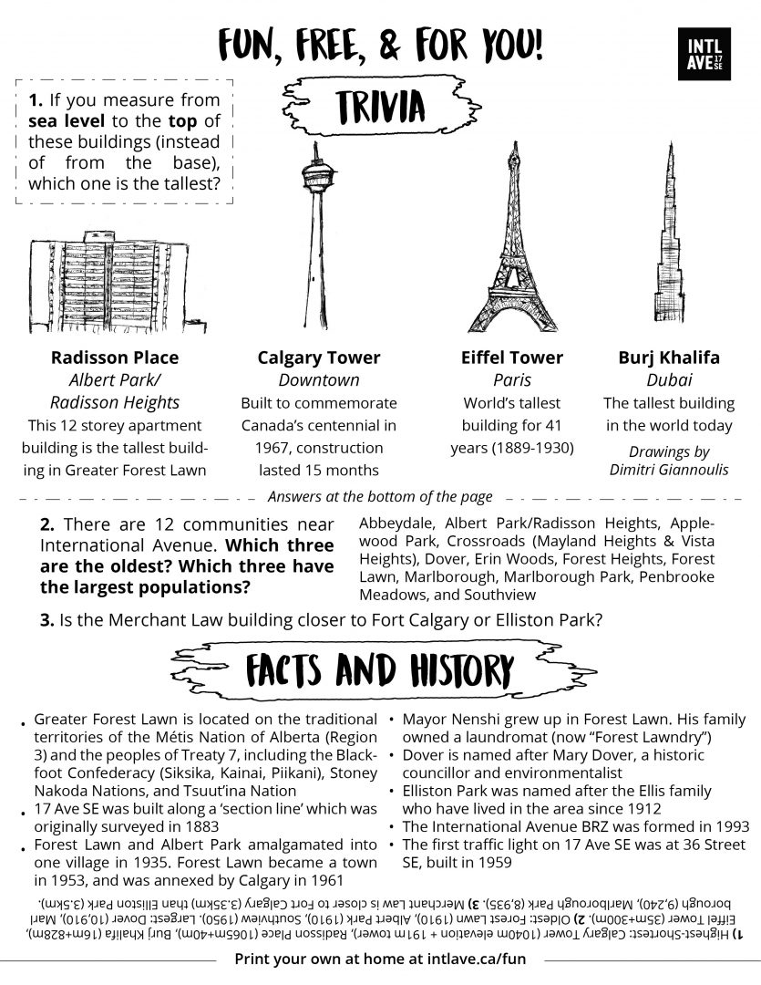 Community based trivia, history, and facts for International Avenue, Greater Forest Lawn area, Calgary.