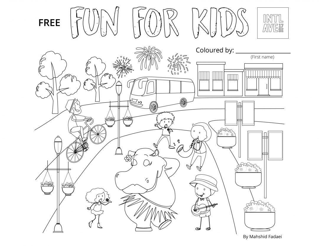 Colouring page drawn by Mahshid Fadaei, property of the International Avenue BRZ. Based on community, International Avenue 17 Ave SE, Greater Forest Lawn, Calgary.