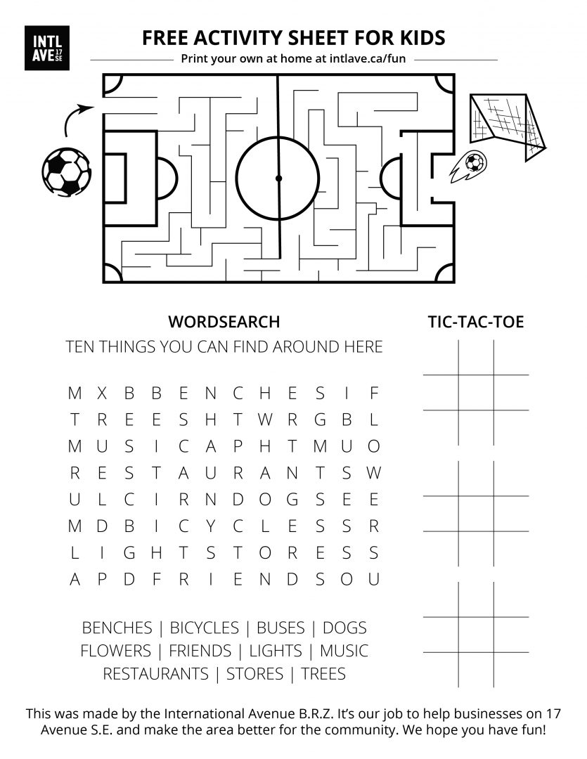Wordsearch, tic-tac-toe, and maze based on International Avenue, Greater Forest Lawn area, Calgary.