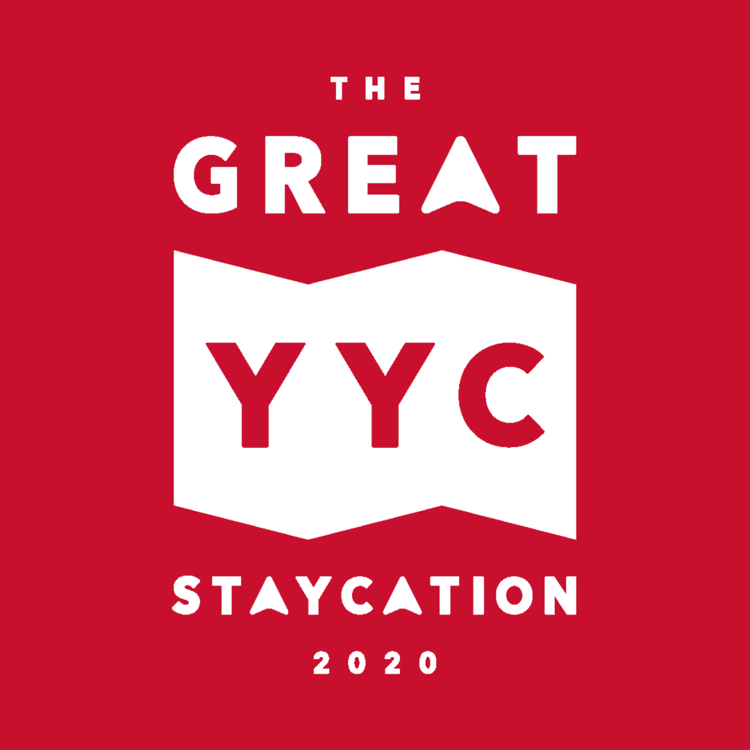 Main logo for the great yyc staycation 2020. Calgary scavenger hunt. Participation by the International Avenue BRZ.