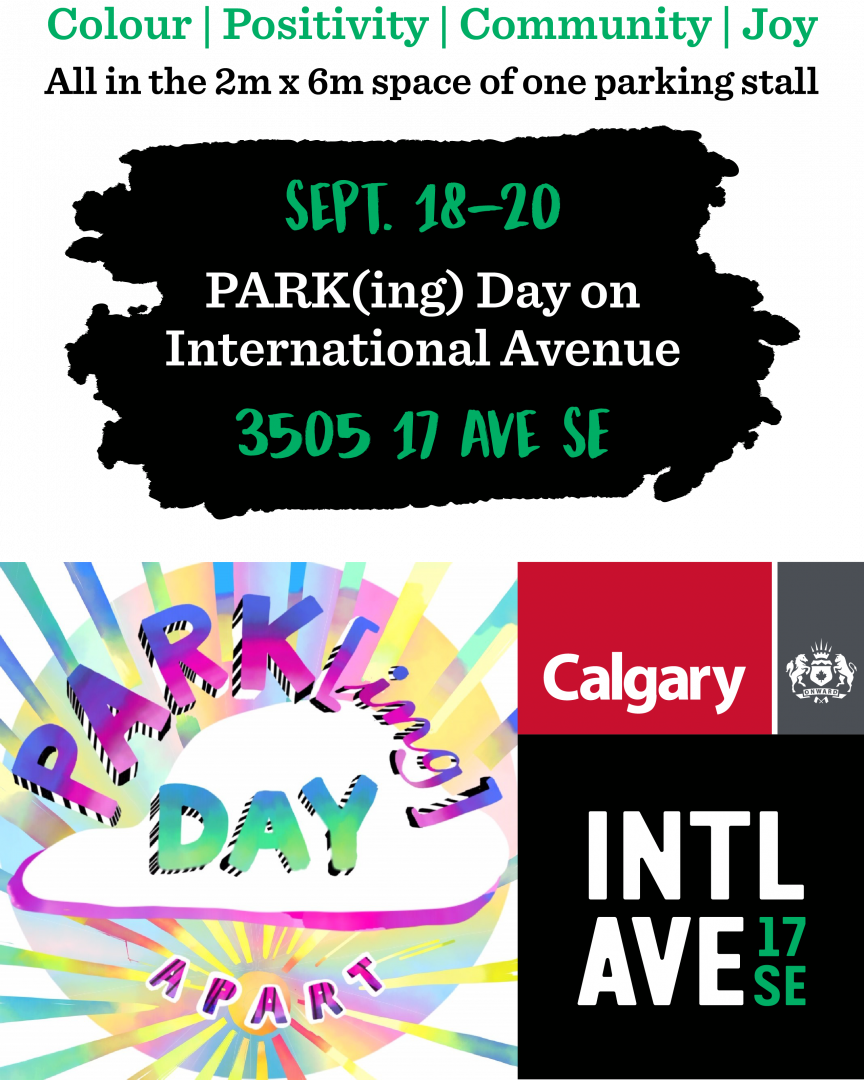 PARK(ing) Day poster for International Avenue BRZ - 2020.
