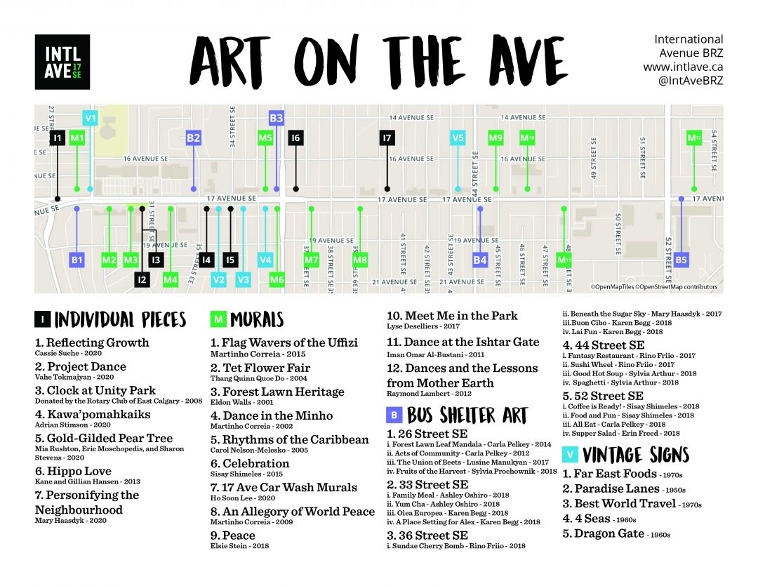 A map of the art, murals, sculptures, and more on International Avenue, 17 Ave SE.