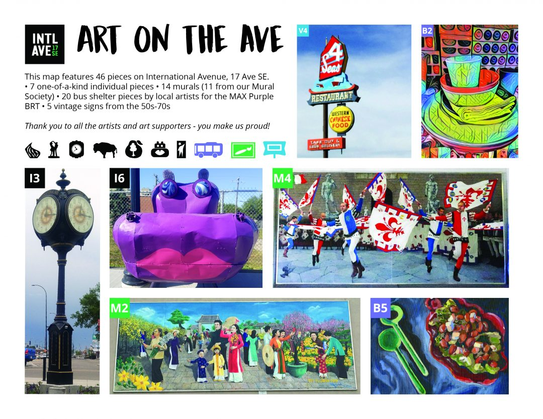 Pics and info of the art, murals, sculptures, and more on International Avenue, 17 Ave SE.
