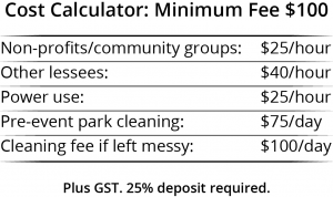 A table to help calculate the cost of your event space rental in Unity Park on International Avenue